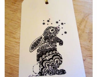 Bunny Gift Tag, Ready to Ship, Zentangle Bunny, Cream Paper Label, Pack of 8, Black Rabbit, Red Rabbit, Paper Stationery, Made in UK, Easter