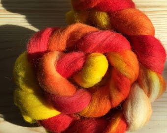 Calcifer Colorway: Hand Dyed Corriedale Roving, 4 oz