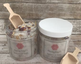 Botanical Bath Salts, moisturizing bath salts, bath soak, bath and body gift, gift for her, Mother's Day