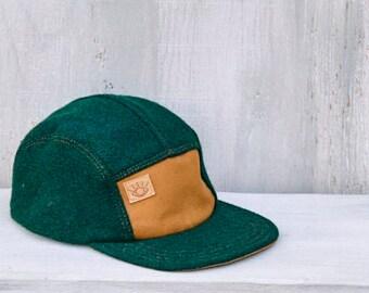 Hunter Green Recycled Wool Handmade 5 Panel Camp Hat, Winter Baseball Hat, Hunting Cap