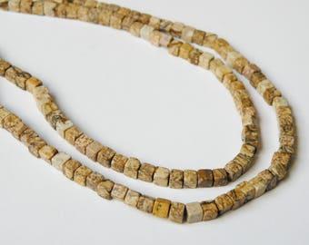 Natural Picture Jasper cube gemstone beads strand 4mm K159