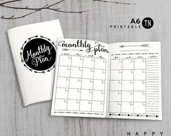 Printable A6 Insert - A6 Traveler's Notebook Insert - A6 monthly insert, Monthly Traveler's Notebook Insert - Arrow