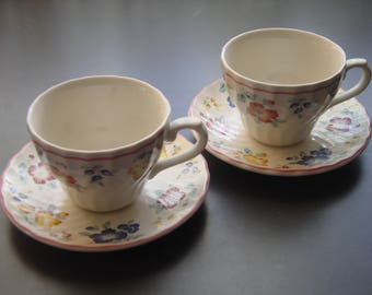 Vintage Pair of Tea Cups by Churchill, England, Briar Rose Pattern
