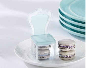 Set 24 Aqua Blue Chair Favor Box Weddings/Anniversary/Party