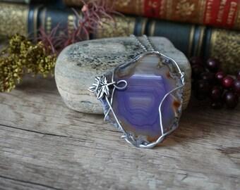 """Purple stone"" - agate necklace"