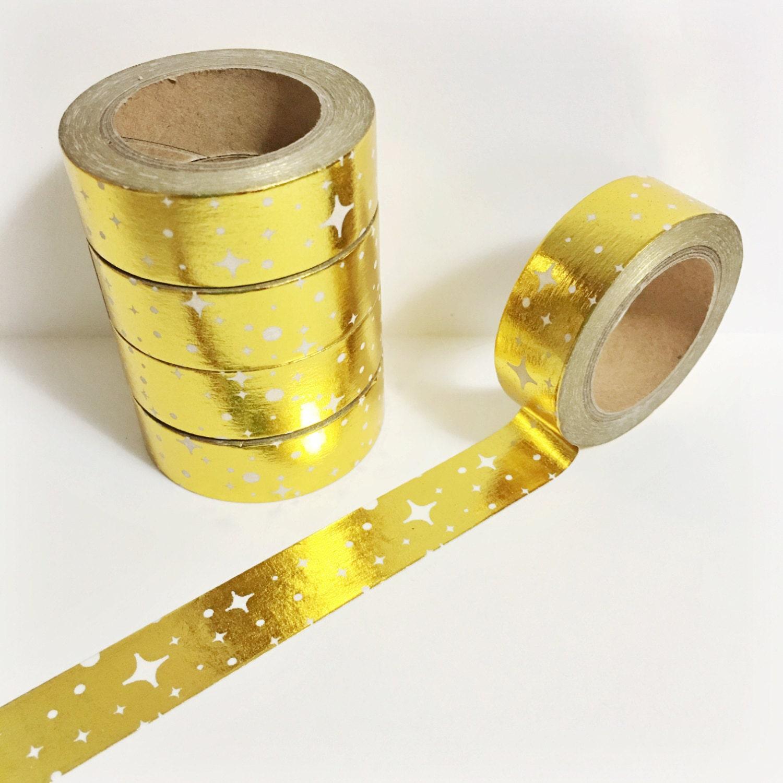 Bright Shiny Metallic Gold Foil Stars and Polka Dots Star Washi Tape ...