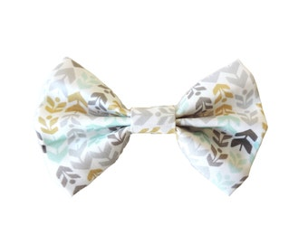 Fabric Bow Hair Clips or Bow Ties - dainty and Dapper - Gold, Aqua, Grey. White