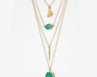 Layered Necklace Set - Set of 4 - Mint Chrysoprase Hamsa Hand Necklace - Layering Pendant - Boho Chic Jewelry - Long Statement Necklace