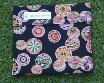 Reuseable lunch/food/sandwich bag eco friendly - mandala's with gold highlights
