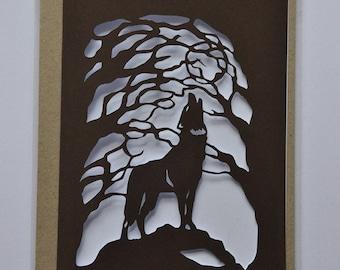 Howling Wolf - Paper Cut Card - Original Design - Handmade - Wolf Card - Howling at the Moon