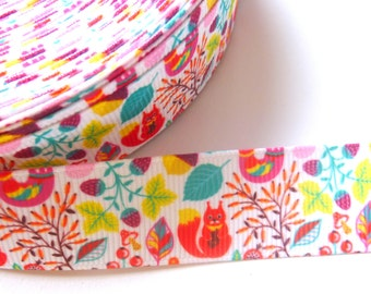 1 Metre of Squirrel Autumn Leaves Ribbon