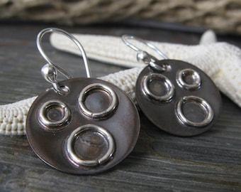Rustic mixed metal artisan handmade earrings. Oxidized copper sterling silver. Blackened discs, shiny rings. Organic urban gift.