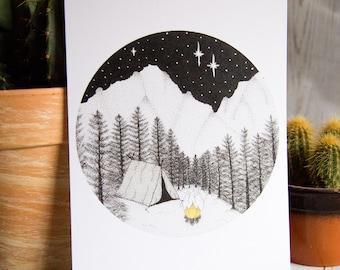 Campfire - Campsite - Forest and Mountain Landscape - Art Print