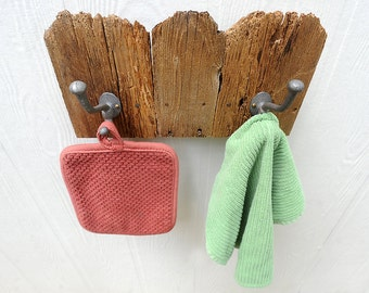 Fence Top two hook rack for stocking, hat, coat, leash, made from reclaimed wood pickets