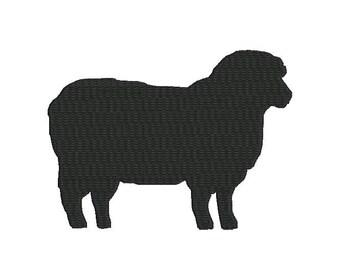 6 sizes - Sheep Embroidery Design, Sheep Silhouette Embroidery Design, Country Embroidery, Instant Download, Farm Machine Embroidery Design