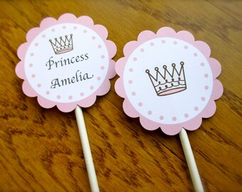 Princess 12 Personalized Birthday Cupcake Toppers, Pink, White