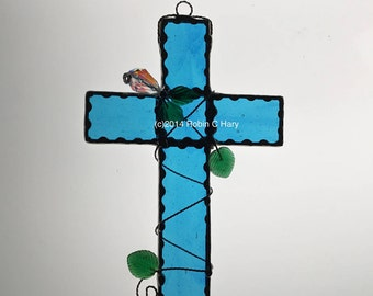 Cross in Stained Glass with Crystal Flower