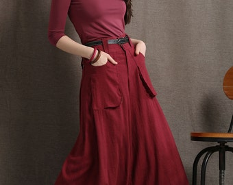 Wide leg pants, red linen culottes, baggy trousers, womens pants, maxi trousers, long pants, skirt pants, culottes with big pockets C410