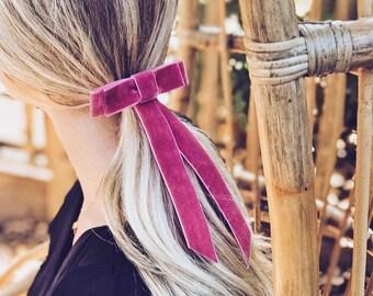 Velvet Ribbon Bow Barrette