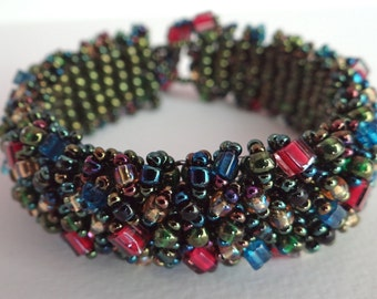 Bracelet caterpillar beaded womens bracelet of multicolored various shaped seed beads bracelet gift for her unique colorful caterpillar