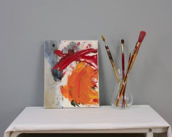 Abstract painting on canvas Small painting Colorful Modern oil original Red painting contemporary Art wall by Fernanda Ruano