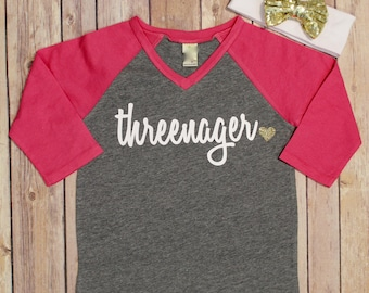 Threenager Shirt, Third Birthday Shirt, 3 Birthday Shirt, 3rd Birthday Shirt, Birthday Shirt, Girls Birthday Shirt, Raglan Birthday Shirt