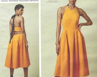 Rebecca Vallance Womens Sundress Summer Halter Dress Vogue Sewing Pattern V1546 Size 14 16 18 20 22 Bust 36 38 40 42 44 FF Vogue Paris