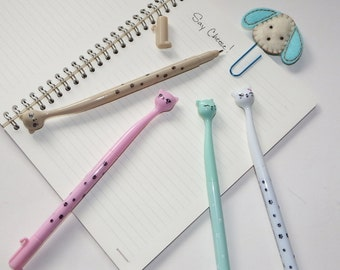 Cute Kawaii Cat Pen Fancy Gel Pens Fun Cat Stationary Pen Pink/Mint/Coffee/White Gel Pen Kawaii Pens
