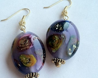 Galaxy French Glass Earrings Unique Beads