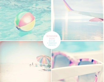 Pastel Photography Set, Beach Ball Art, Airplane, Beach Umbrella Art, Pastel Wall Art, Mint ,Turquoise, Pink, Summer Photography, Beach Art