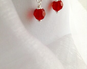 SOLD ~ Fab Faceted Red Glass and Silver Dangle Earrings