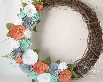 Mint, Coral, Blush, White, Gray Felt Flower Wreath|| Grapevine Wreath || Front Door Wreath || Mantel Wreath || Nursery Decor || Floral Decor