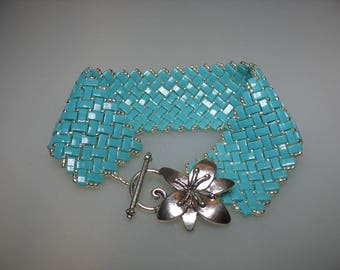 Turquoise Half Tila Bead and Silver Seed Bead Herringbone Stitched Bracelet