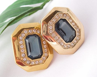 Swarovski Earrings  Signed SAL Gold Plated, Sapphire Glass Rhinestones Vintage 1980s Retro Glam Jewelry