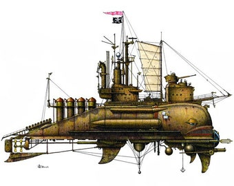 """12 of 12 Fanciful Submarine Giclee Prints on Fine Art Smooth Paper (16""""x12"""")"""
