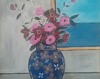 Original Fine Art Painting, Vase of Flowers with Lemons by a Window, Expressionist Painting, Contemporary Painting