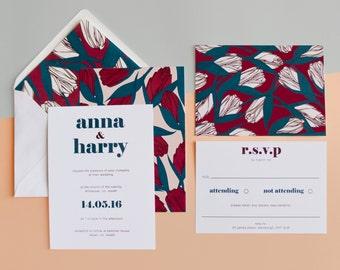 Oriental tulip Wedding Invitation