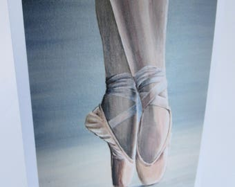 Ballet greetings card, 'Ballet Shoes'