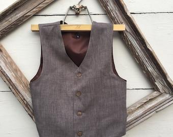 Size XXL: 11 to 12yrs Boys sable brown Vest, Wedding Ring Bearer, Toddler Vest, sable brown Vest (1-10 year old)