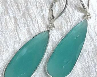Faceted Green Onyx Teardrop Bezel Set Earrings with sterling silver lever back ear wires , green earrings (E101)