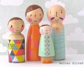 Doodle Peg Dolls by Walter Silva - Modern trendy Toys - Family Peg Dolls Handmade toys