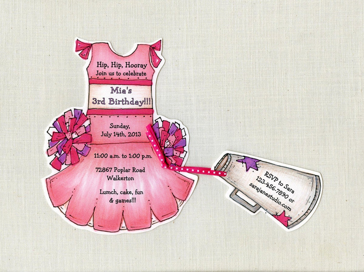 35 Pink Cheerleader Birthday Party Invitations Cheer Team Spirit