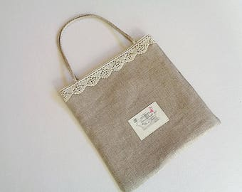 All (gift, storage...) bag handles made of braided linen cord, antique lace, linen