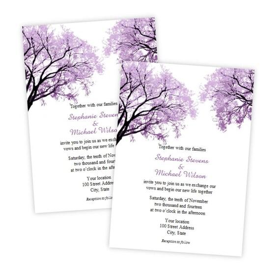 Lila Bäume Word Hochzeiteinladung DIY-editierbare Vorlage