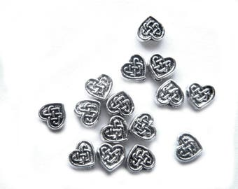20 Silver Small Heart Celtic Knotwork Beads