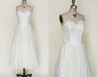 Vintage Tea Length Wedding Dress / 1950s Ivory Strapless Lace Dress Small Medium