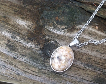 Pet Ash Pendant, Pet Memorial Jewelry, Stainless Steel Necklace, Pet Cremation Jewelry, Natural Ash Necklace