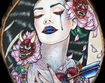 Birth of A Hannya -  12x16 Archival  Print Pin Up girl Tattoo Art Gothic Art Nouveau Lowbrow Print Japanese  fantasy illustration