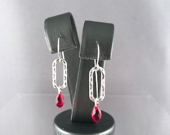 Red Crystal Teardrops & Silver Ovals