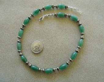 Necklace - Handmade - Green Agate, Pyrite, Sterling Silver